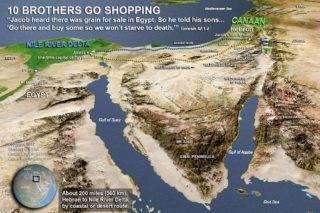 map of Joseph's brothers traveling to Egypt