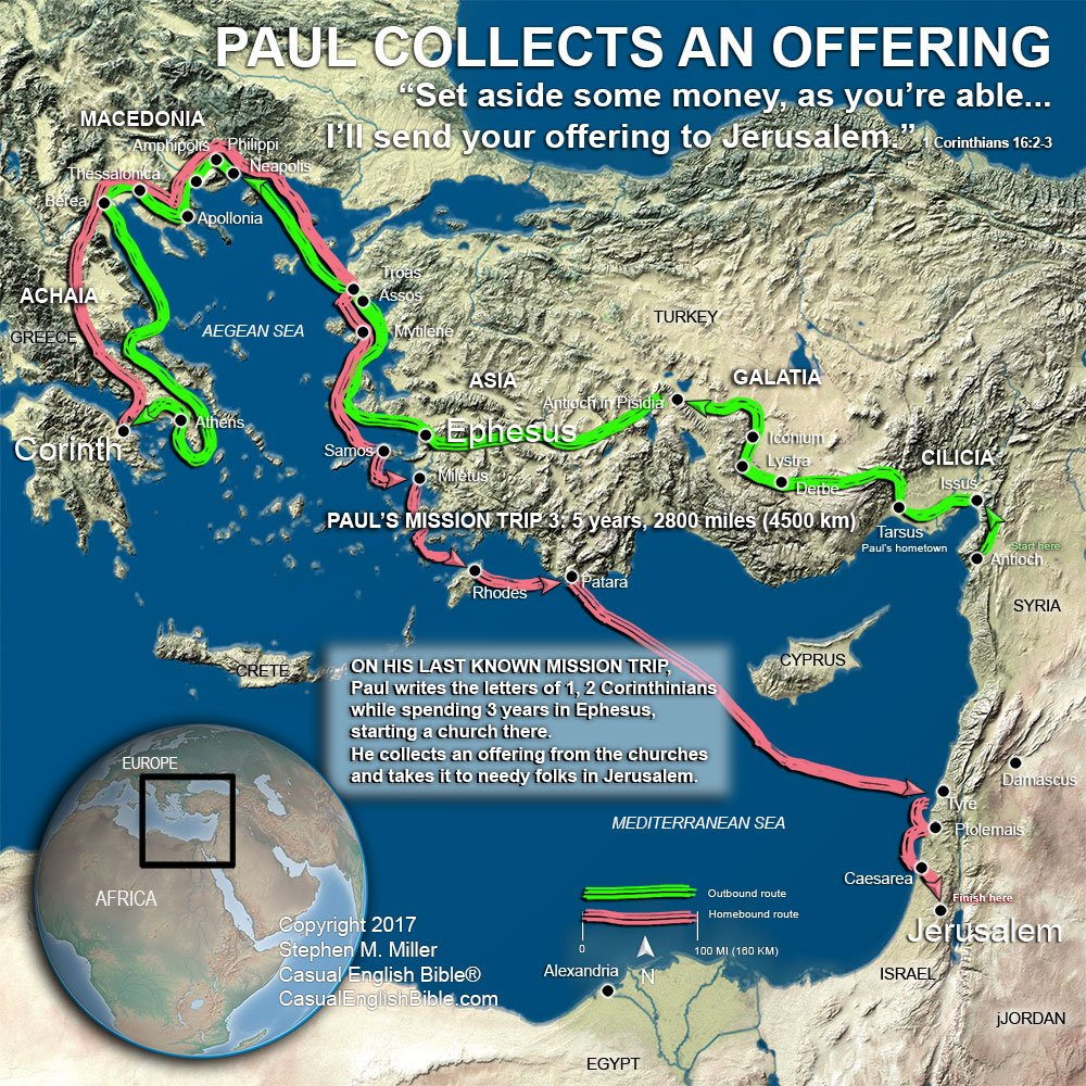 FreeBibleimages :: Maps: The journeys of Paul :: Maps of
