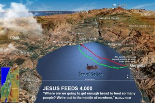 map of Jesus feeding 4,000
